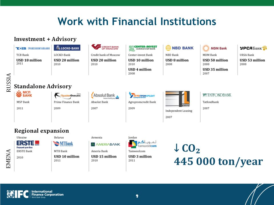 Work with Financial Institutions 9 Investment + Advisory Standalone Advisory EMENA RUSSIA Regional expansion
