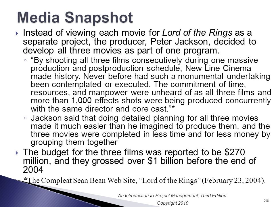 Copyright 2010 An Introduction to Project Management, Third Edition  Instead of viewing each movie for Lord of the Rings as a separate project, the producer, Peter Jackson, decided to develop all three movies as part of one program.