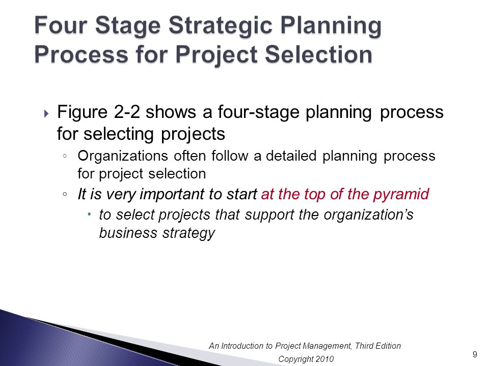 Copyright 2010 An Introduction to Project Management, Third Edition  Figure 2-2 shows a four-stage planning process for selecting projects ◦ Organizations often follow a detailed planning process for project selection ◦ It is very important to start at the top of the pyramid  to select projects that support the organization's business strategy 9