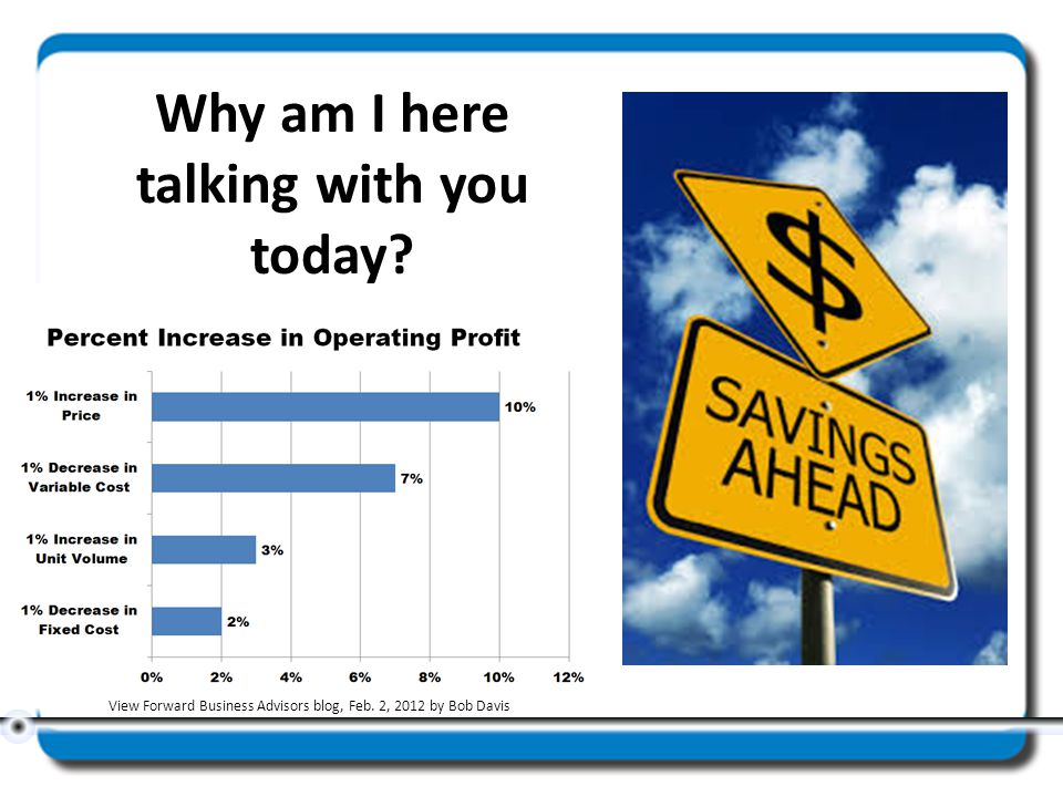 Why am I here talking with you today? View Forward Business Advisors blog, Feb. 2, 2012 by Bob Davis