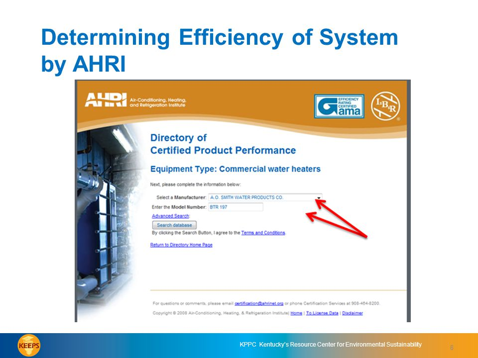 KPPC Kentucky's Resource Center for Environmental Sustainability Determining Efficiency of System by AHRI slide 3 8