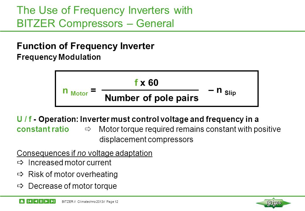 BITZER // Climatechno 2013// Page 12 The Use of Frequency Inverters with BITZER Compressors – General n Motor = f x 60 Number of pole pairs – n Slip F