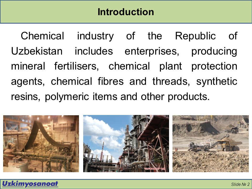 Main types of manufactured products Slide № 3 Mineral fertilisers and inorganic products Organic chemistry, synthetic threads and polymeric materials Chemicals for energy and chemical industries, as well as for gold mining Chemical plant protection agents Nitrogen, phosphate and potassium fertilisers Ammonia Caustic soda and soda ash Magnesium chlorate defoliant Cellulose and cellulose acetate Fibres, acetate threads Acetic acid, acetylene and other products Sodium cyanide, thiourea, polyacrylamides Nitric, sulphuric, hydrochloric acids Catalysts Polyethylene products Crop protection agents