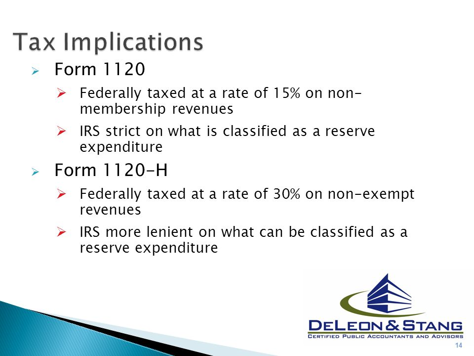  Form 1120  Federally taxed at a rate of 15% on non- membership revenues  IRS strict on what is classified as a reserve expenditure  Form 1120-H  Federally taxed at a rate of 30% on non-exempt revenues  IRS more lenient on what can be classified as a reserve expenditure 14