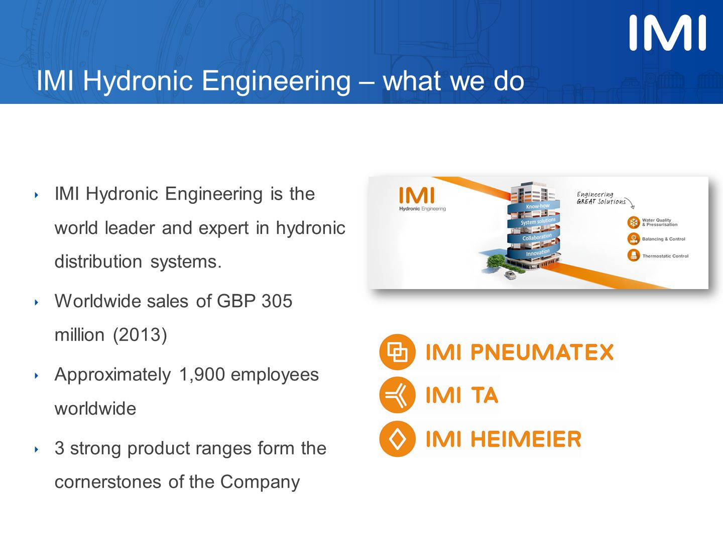 ‣ IMI Hydronic Engineering is the world leader and expert in hydronic distribution systems. ‣ Worldwide sales of GBP 305 million (2013) ‣ Approximatel