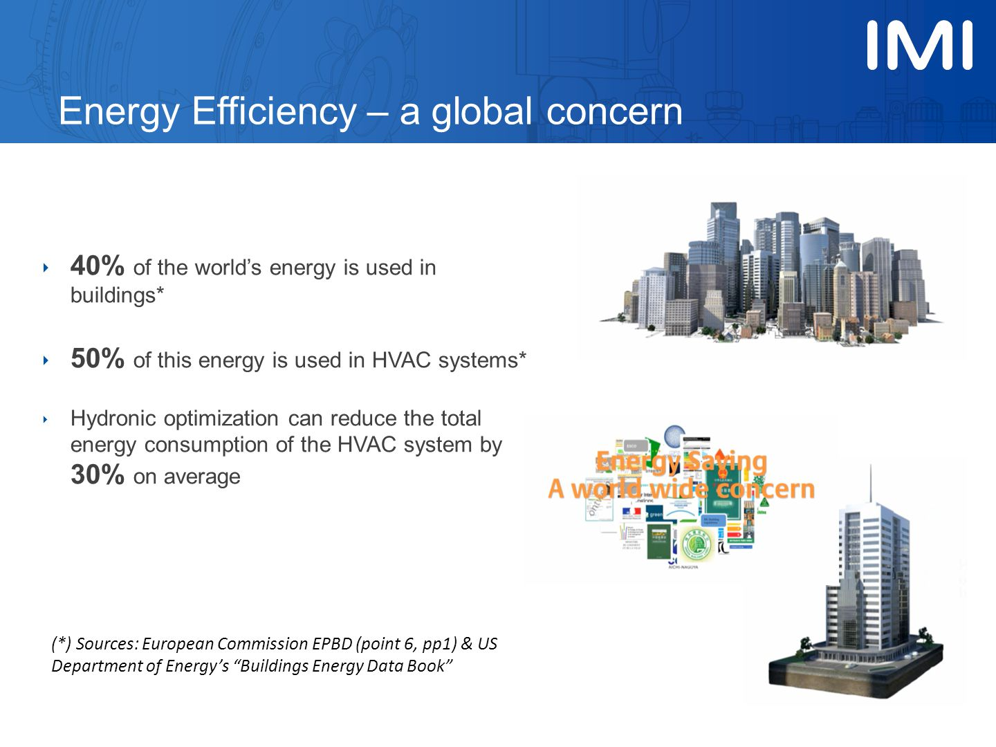Energy Efficiency – a global concern ‣ 40% of the world's energy is used in buildings* ‣ 50% of this energy is used in HVAC systems* ‣ Hydronic optimization can reduce the total energy consumption of the HVAC system by 30% on average (*) Sources: European Commission EPBD (point 6, pp1) & US Department of Energy's Buildings Energy Data Book