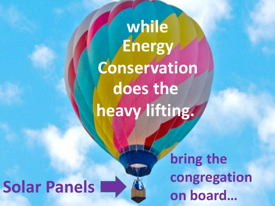 Energy Conservation Solar Panels bring the congregation on board… while does the heavy lifting.