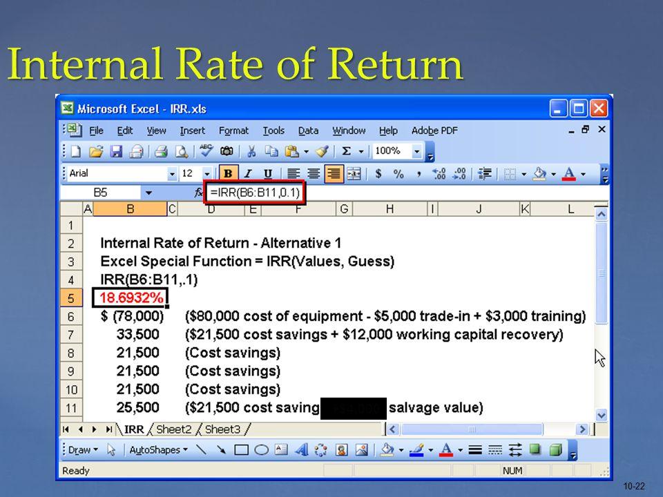 10-22 Internal Rate of Return +$4,000