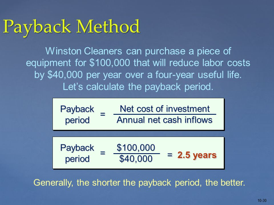 10-30 Payback Method Winston Cleaners can purchase a piece of equipment for $100,000 that will reduce labor costs by $40,000 per year over a four-year useful life.
