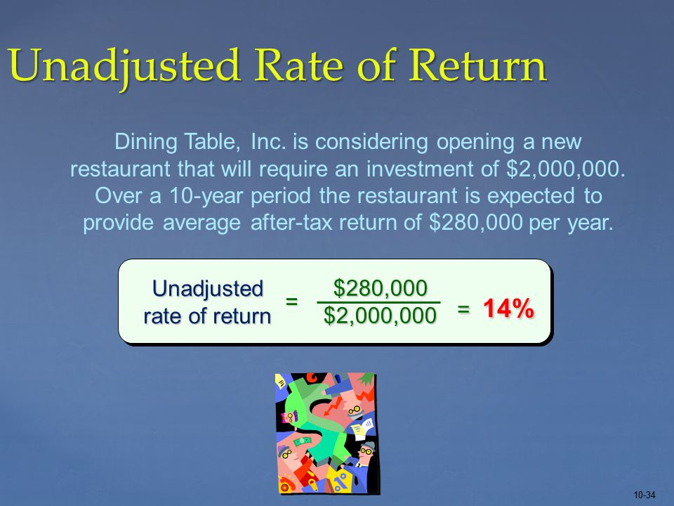 10-34 Unadjusted Rate of Return Dining Table, Inc.
