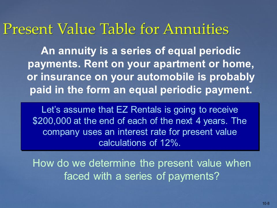 10-8 Present Value Table for Annuities Let's assume that EZ Rentals is going to receive $200,000 at the end of each of the next 4 years.