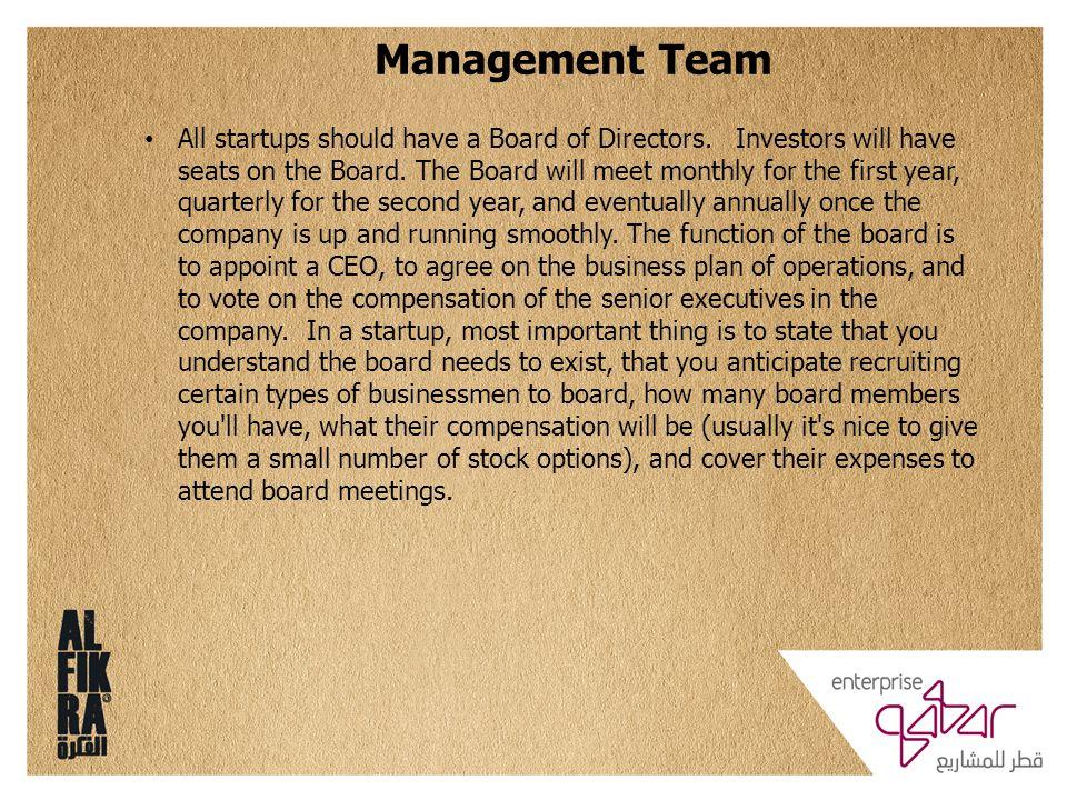 Management Team All startups should have a Board of Directors.