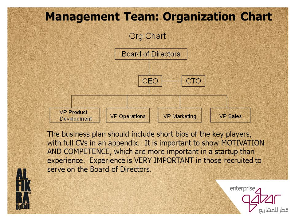Management Team: Organization Chart The business plan should include short bios of the key players, with full CVs in an appendix. It is important to s