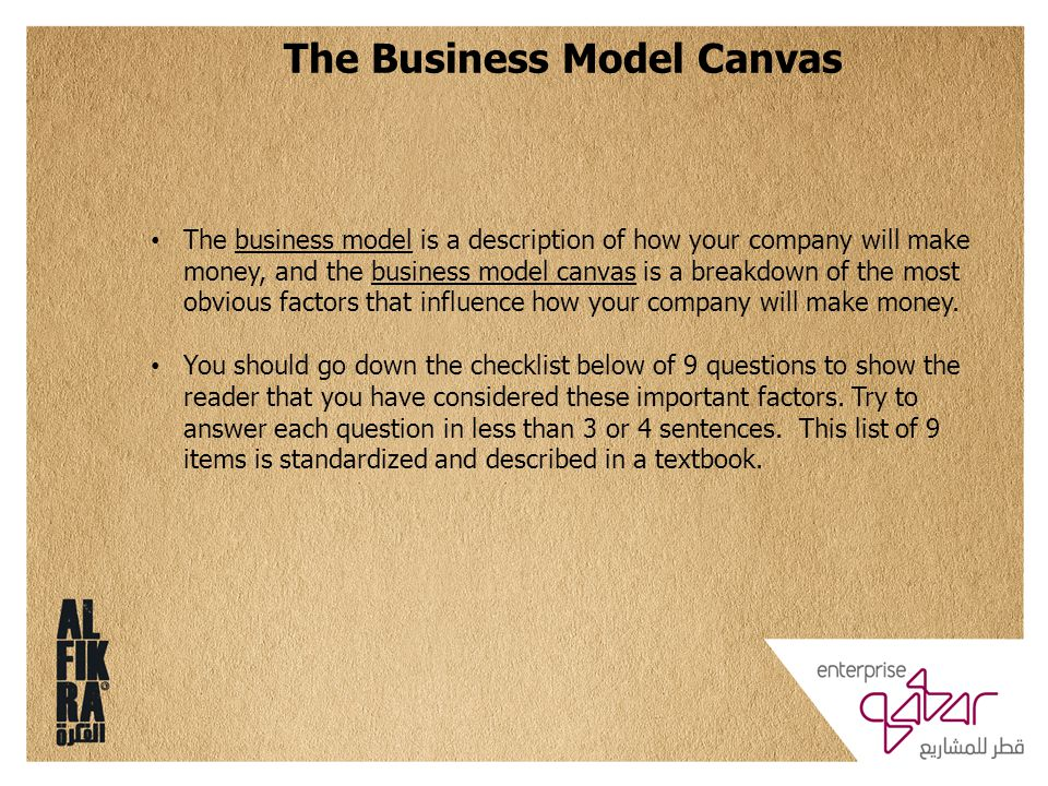 The Business Model Canvas The business model is a description of how your company will make money, and the business model canvas is a breakdown of the most obvious factors that influence how your company will make money.