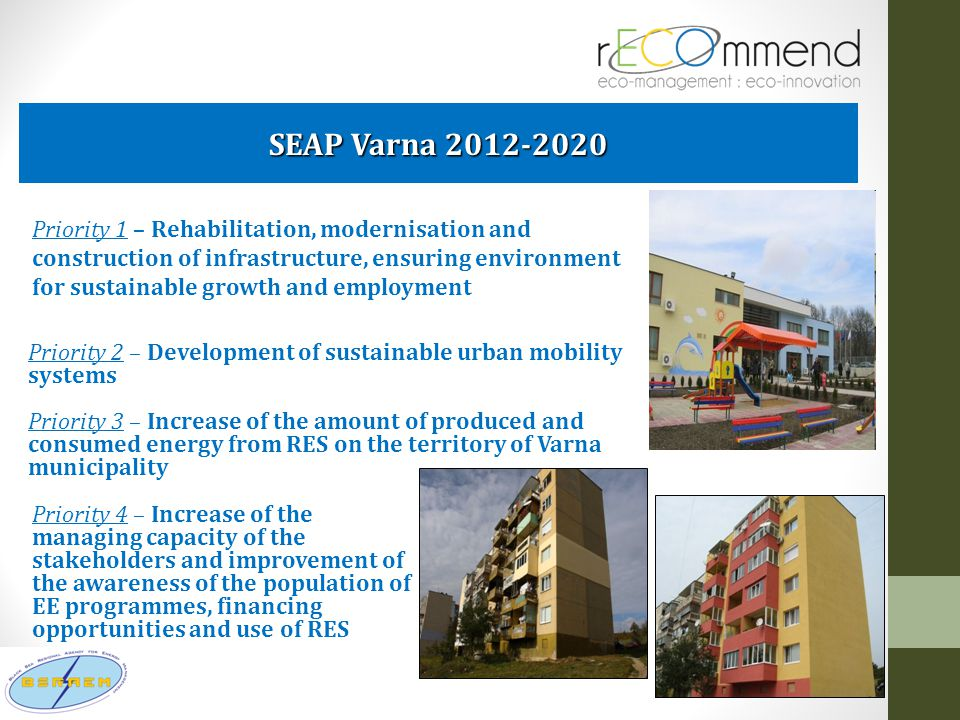 SEAP Varna 2012-2020 Priority 1 – Rehabilitation, modernisation and construction of infrastructure, ensuring environment for sustainable growth and em