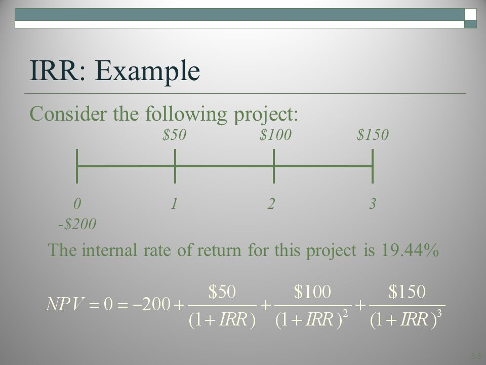 5-3 IRR: Example Consider the following project: 0123 $50$100$150 -$200 The internal rate of return for this project is 19.44%