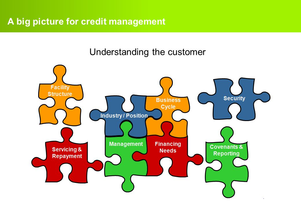 confidential. A big picture for credit management Understanding the customer