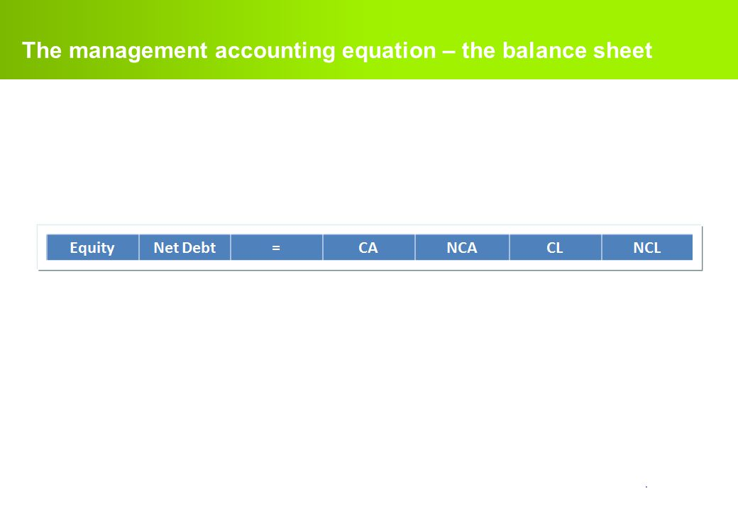 confidential. The management accounting equation – the balance sheet