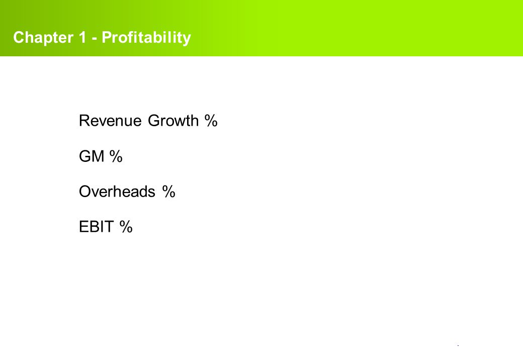 confidential. Revenue Growth % GM % Overheads % EBIT % Chapter 1 - Profitability