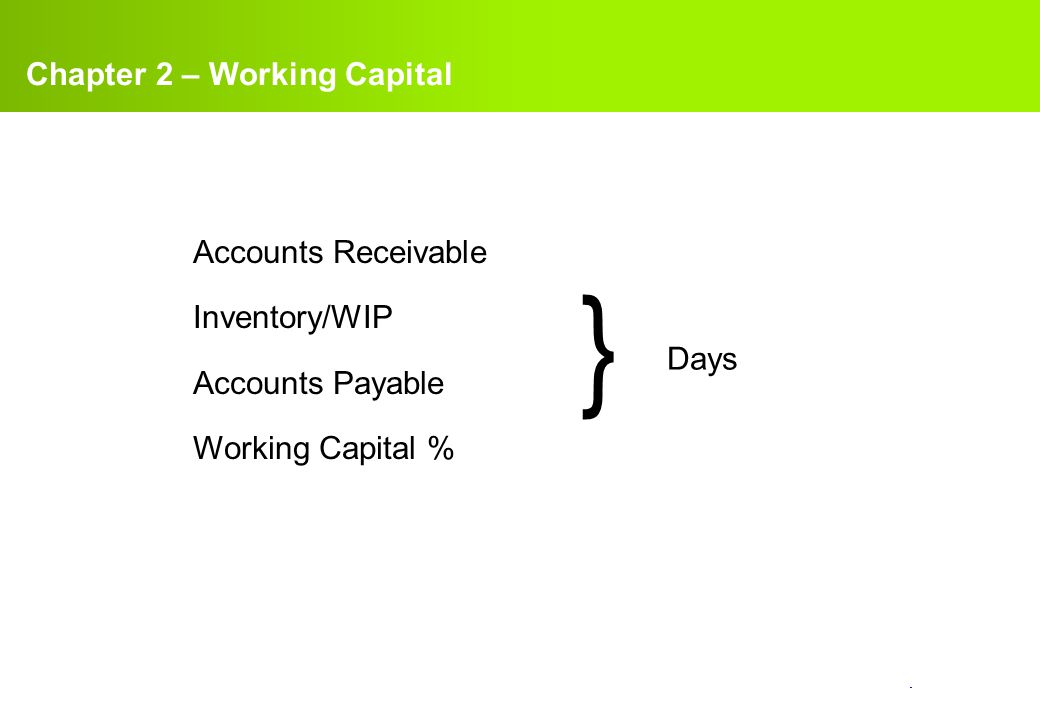 confidential. Chapter 2 – Working Capital Accounts Receivable Inventory/WIP Accounts Payable Working Capital % } Days