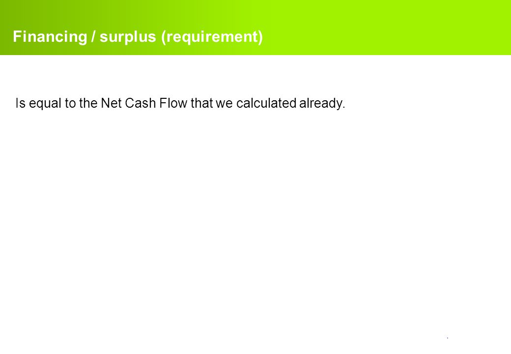 confidential. Financing / surplus (requirement) Is equal to the Net Cash Flow that we calculated already.