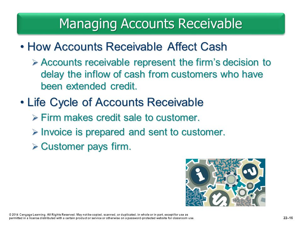 Managing Accounts Receivable How Accounts Receivable Affect CashHow Accounts Receivable Affect Cash  Accounts receivable represent the firm's decision to delay the inflow of cash from customers who have been extended credit.