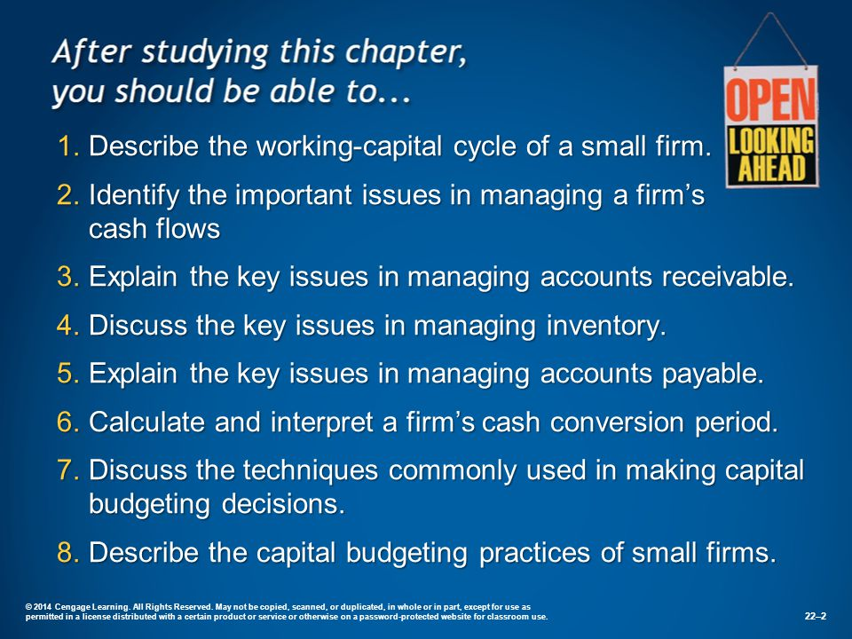 1.Describe the working-capital cycle of a small firm.