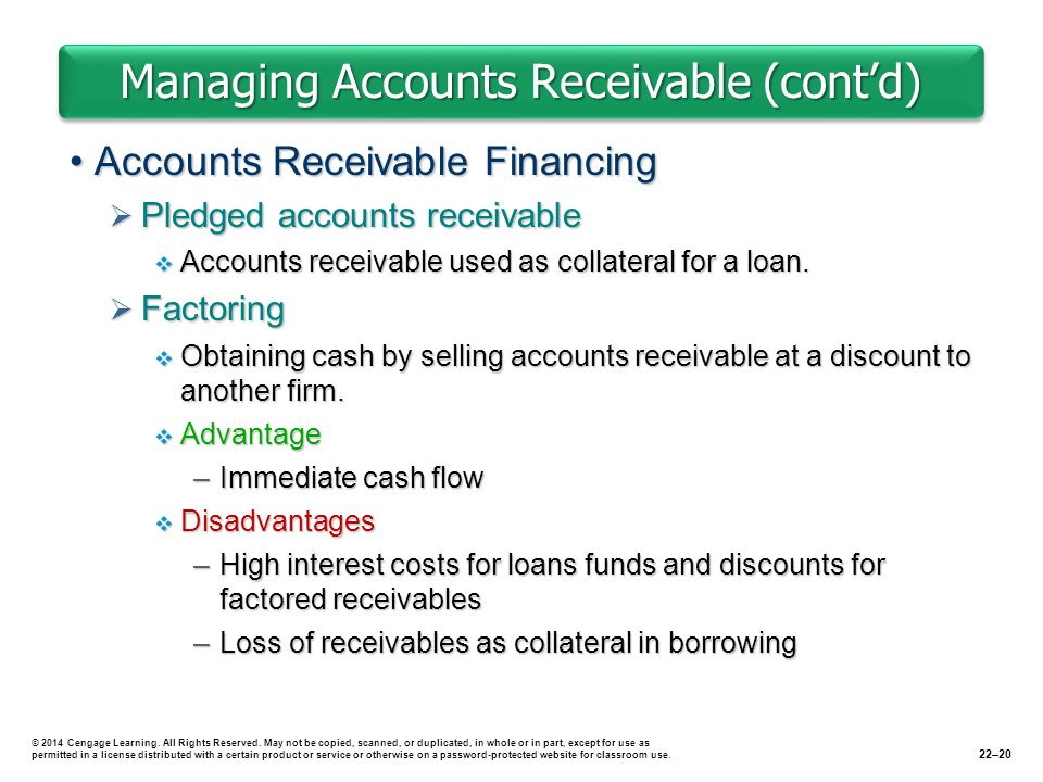 Managing Accounts Receivable (cont'd) Accounts Receivable FinancingAccounts Receivable Financing  Pledged accounts receivable  Accounts receivable used as collateral for a loan.