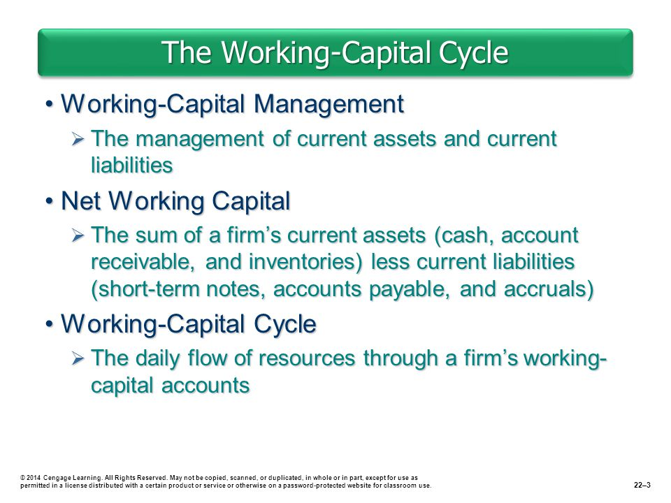 The Working-Capital Cycle Working-Capital ManagementWorking-Capital Management  The management of current assets and current liabilities Net Working CapitalNet Working Capital  The sum of a firm's current assets (cash, account receivable, and inventories) less current liabilities (short-term notes, accounts payable, and accruals) Working-Capital CycleWorking-Capital Cycle  The daily flow of resources through a firm's working- capital accounts 22–3 © 2014 Cengage Learning.