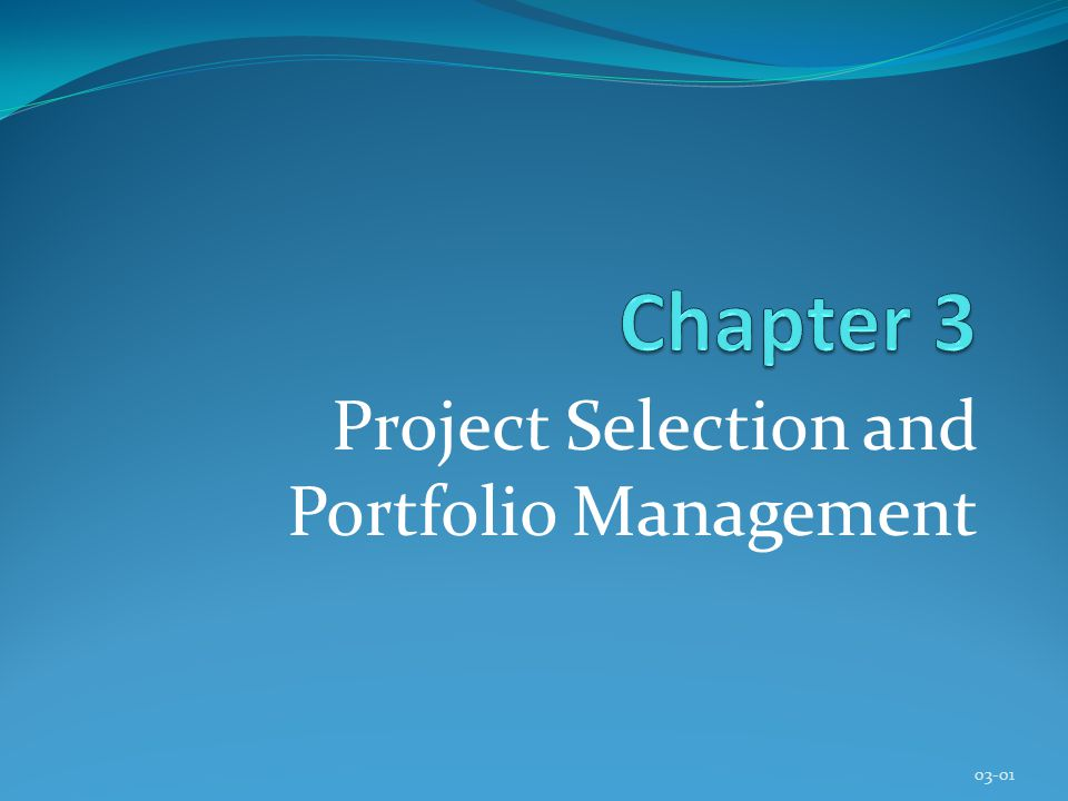 Project Selection and Portfolio Management 03-01