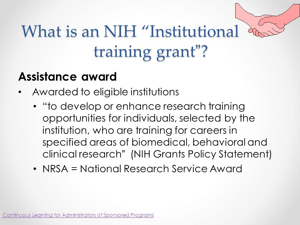 What is an NIH Institutional training grant . What is an NIH Institutional training grant .