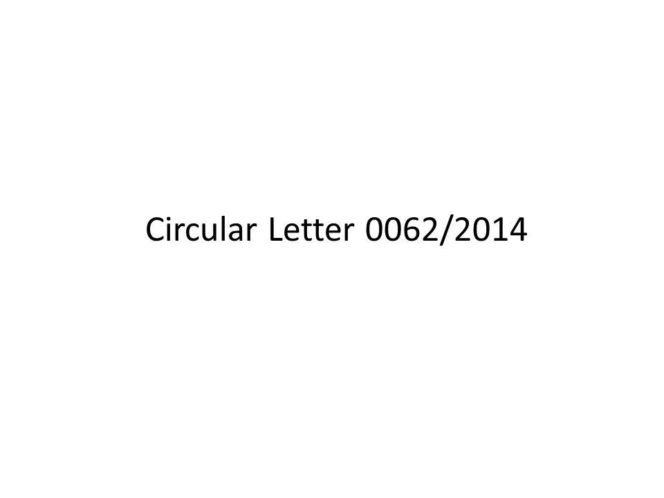 Circular Letter 0062/2014