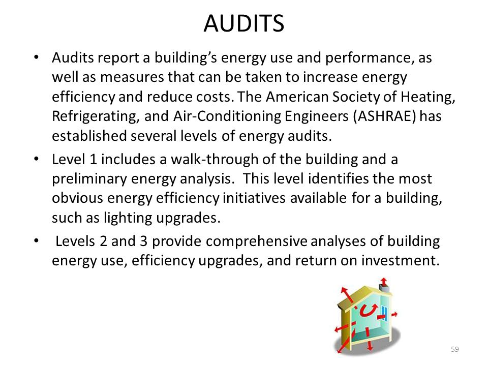 AUDITS Audits report a building's energy use and performance, as well as measures that can be taken to increase energy efficiency and reduce costs.