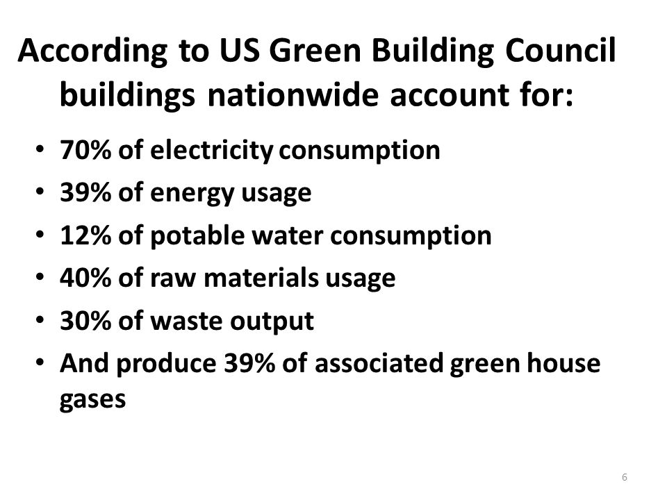 6 According to US Green Building Council buildings nationwide account for: 70% of electricity consumption 39% of energy usage 12% of potable water consumption 40% of raw materials usage 30% of waste output And produce 39% of associated green house gases