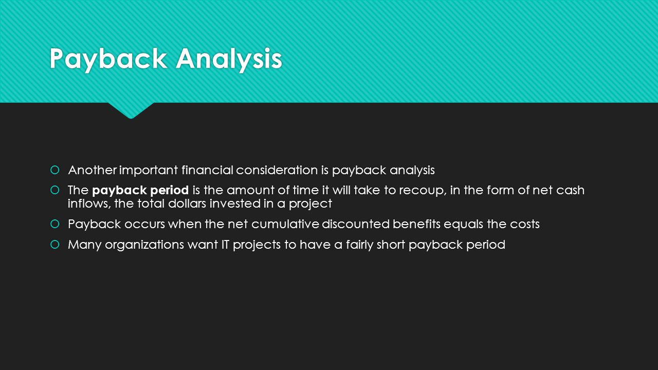 Payback Analysis  Another important financial consideration is payback analysis  The payback period is the amount of time it will take to recoup, in