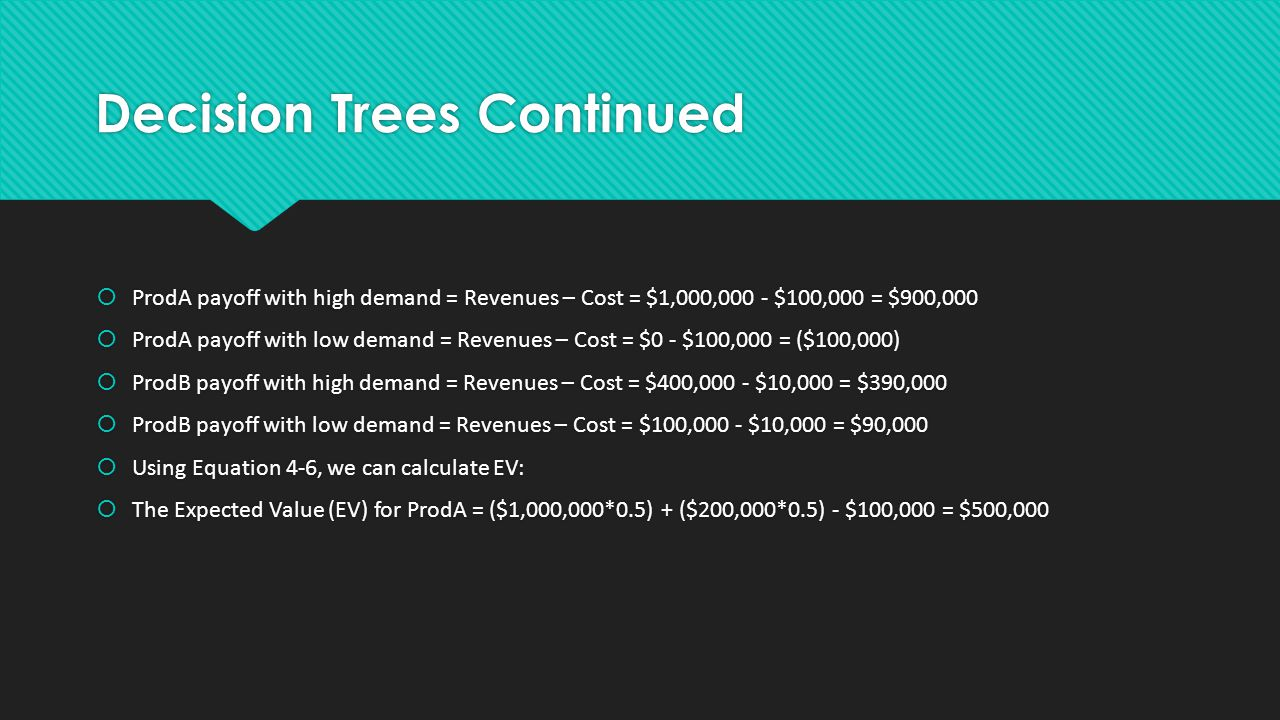 Decision Trees Continued  ProdA payoff with high demand = Revenues – Cost = $1,000,000 - $100,000 = $900,000  ProdA payoff with low demand = Revenues – Cost = $0 - $100,000 = ($100,000)  ProdB payoff with high demand = Revenues – Cost = $400,000 - $10,000 = $390,000  ProdB payoff with low demand = Revenues – Cost = $100,000 - $10,000 = $90,000  Using Equation 4-6, we can calculate EV:  The Expected Value (EV) for ProdA = ($1,000,000*0.5) + ($200,000*0.5) - $100,000 = $500,000  ProdA payoff with high demand = Revenues – Cost = $1,000,000 - $100,000 = $900,000  ProdA payoff with low demand = Revenues – Cost = $0 - $100,000 = ($100,000)  ProdB payoff with high demand = Revenues – Cost = $400,000 - $10,000 = $390,000  ProdB payoff with low demand = Revenues – Cost = $100,000 - $10,000 = $90,000  Using Equation 4-6, we can calculate EV:  The Expected Value (EV) for ProdA = ($1,000,000*0.5) + ($200,000*0.5) - $100,000 = $500,000