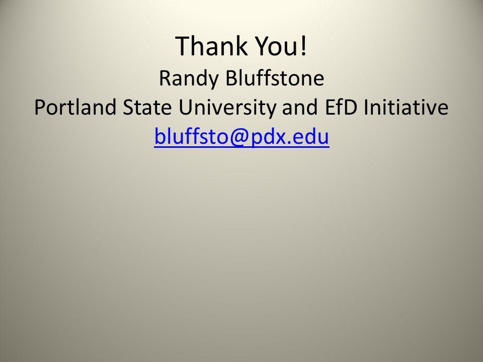 Thank You! Randy Bluffstone Portland State University and EfD Initiative bluffsto@pdx.edu bluffsto@pdx.edu