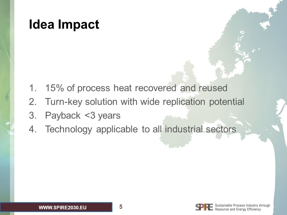 WWW.SPIRE2030.EU Idea Impact 1.15% of process heat recovered and reused 2.Turn-key solution with wide replication potential 3.Payback <3 years 4.Technology applicable to all industrial sectors 5