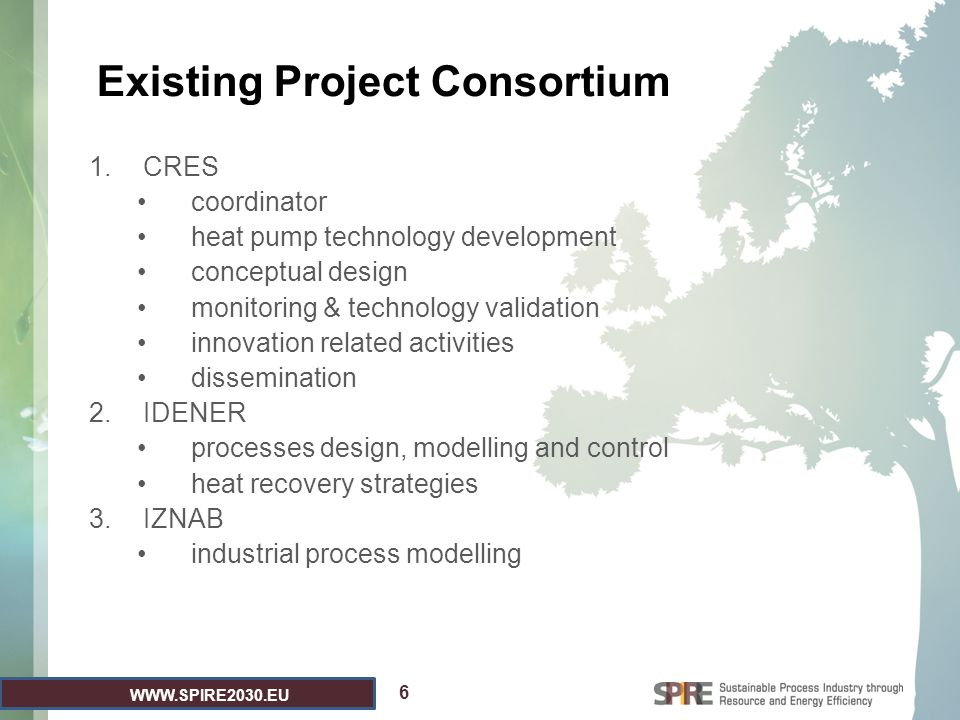 WWW.SPIRE2030.EU Existing Project Consortium 1.CRES coordinator heat pump technology development conceptual design monitoring & technology validation innovation related activities dissemination 2.IDENER processes design, modelling and control heat recovery strategies 3.IZNAB industrial process modelling 6