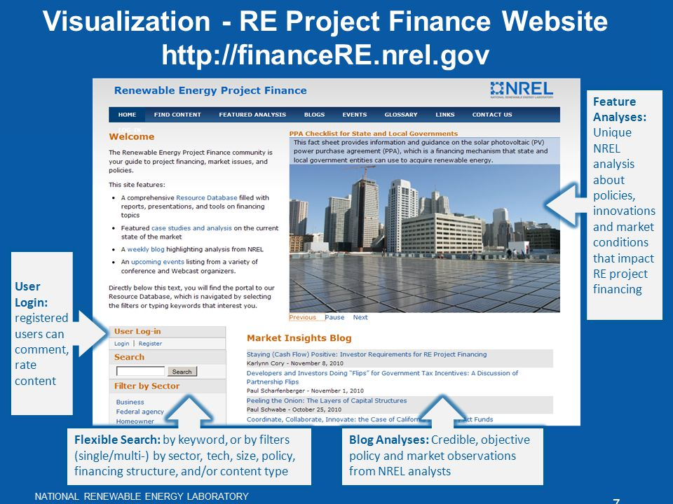 7 http://financeRE.nrel.gov NATIONAL RENEWABLE ENERGY LABORATORY Visualization - RE Project Finance Website http://financeRE.nrel.gov Feature Analyses