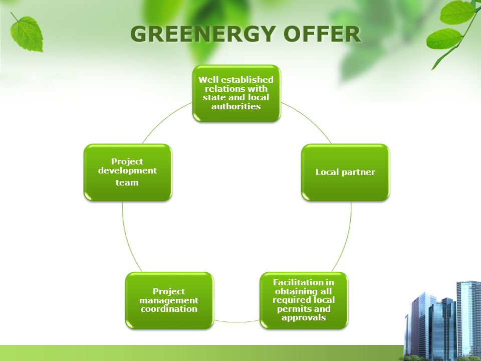 GREENERGY OFFER Well established relations with state and local authorities Local partner Facilitation in obtaining all required local permits and approvals Project management coordination Project development team