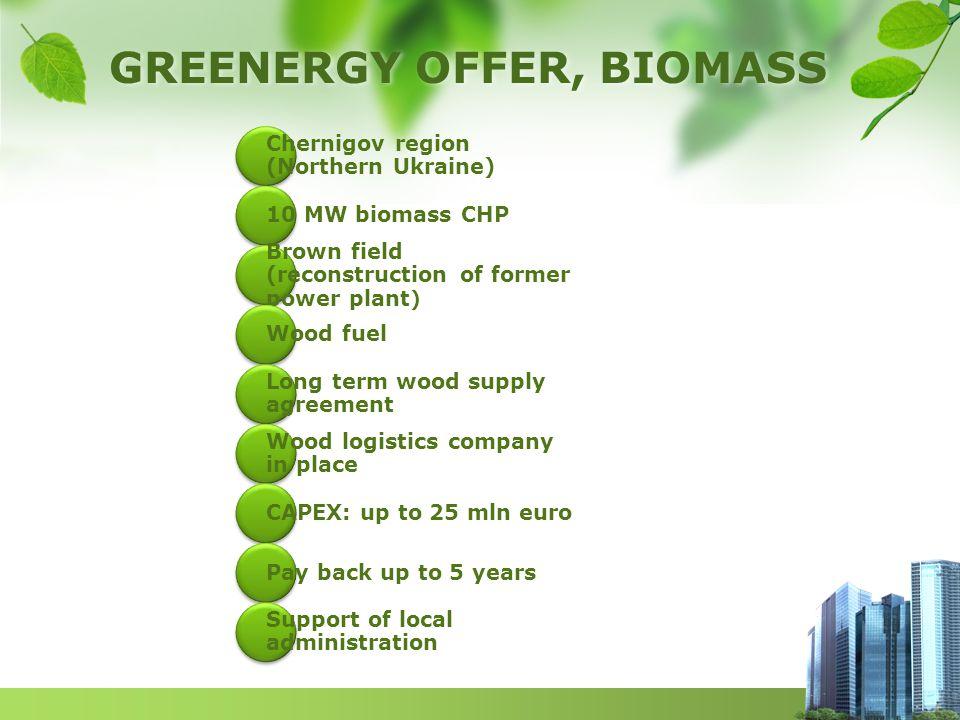 GREENERGY OFFER, BIOMASS Chernigov region (Northern Ukraine) 10 MW biomass CHP Brown field (reconstruction of former power plant ) Wood fuel Long term