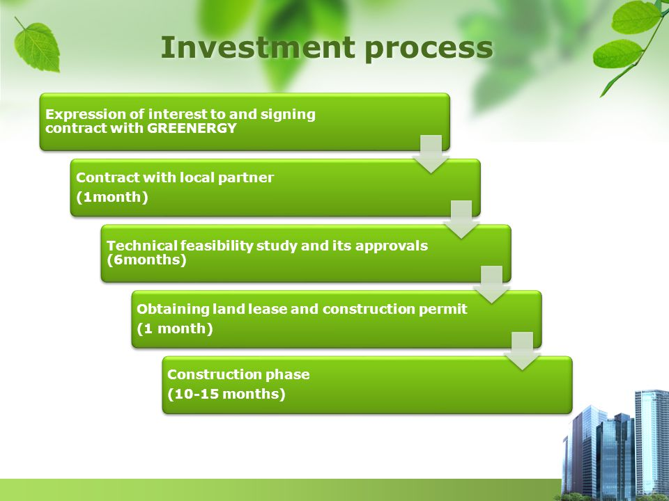 Investment process Expression of interest to and signing contract with GREENERGY Contract with local partner (1month) Technical feasibility study and its approvals (6months) Obtaining land lease and construction permit (1 month) Construction phase (10-15 months)