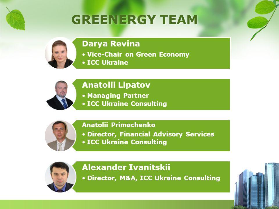 GREENERGY TEAM Darya Revina Vice-Chair on Green Economy ICC Ukraine Anatolii Lipatov Managing Partner ICC Ukraine Consulting Anatolii Primachenko Dire