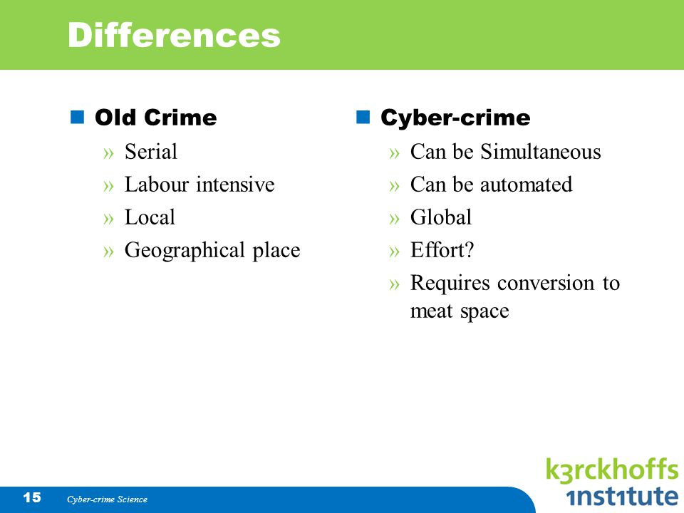 Cyber-crime Science 15 Differences Old Crime »Serial »Labour intensive »Local »Geographical place Cyber-crime » Can be Simultaneous » Can be automated