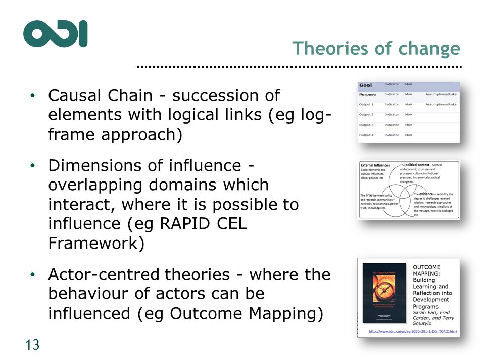 Theories of change Causal Chain - succession of elements with logical links (eg log- frame approach) Dimensions of influence - overlapping domains which interact, where it is possible to influence (eg RAPID CEL Framework) Actor-centred theories - where the behaviour of actors can be influenced (eg Outcome Mapping) 13
