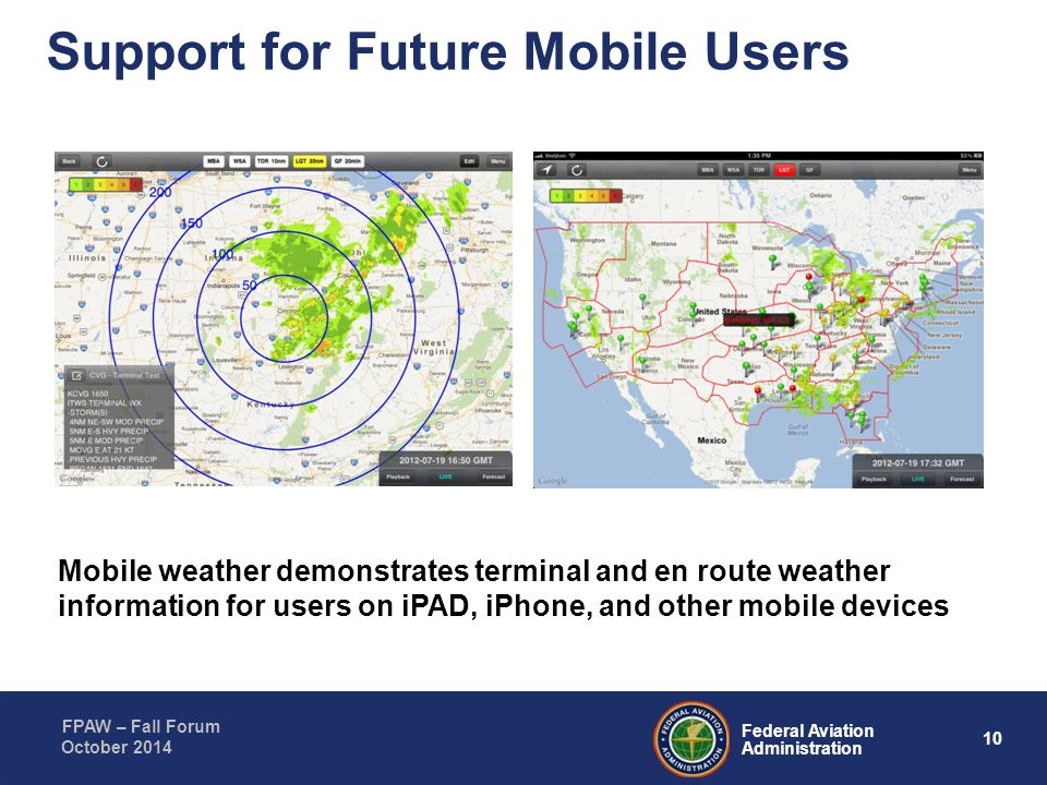 10 Federal Aviation Administration FPAW – Fall Forum October 2014 Support for Future Mobile Users Mobile weather demonstrates terminal and en route we
