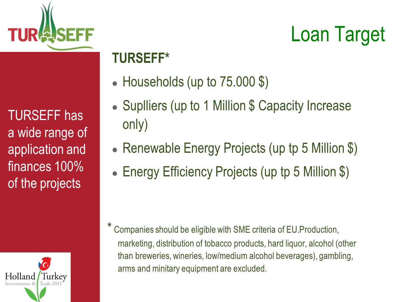 TURSEFF has a wide range of application and finances 100% of the projects TURSEFF* Households (up to 75.000 $) Suplliers (up to 1 Million $ Capacity Increase only) Renewable Energy Projects (up tp 5 Million $) Energy Efficiency Projects (up tp 5 Million $) Loan Target * Companies should be eligible with SME criteria of EU.Production, marketing, distribution of tobacco products, hard liquor, alcohol (other than breweries, wineries, low/medium alcohol beverages), gambling, arms and minitary equipment are excluded.