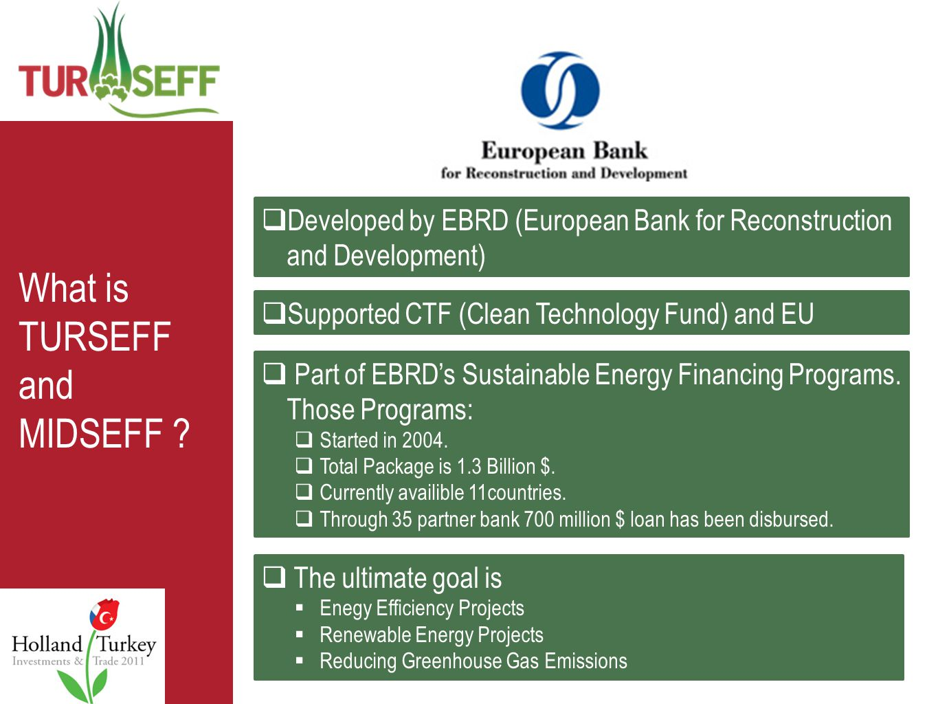  Developed by EBRD (European Bank for Reconstruction and Development)  Part of EBRD's Sustainable Energy Financing Programs.