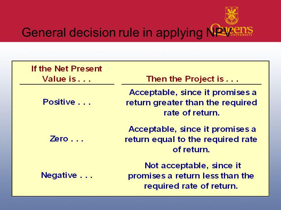 29 General decision rule in applying NPV
